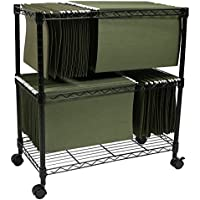 Apollo Hardware 2-Tier File Cart / Mobile File Cart (Black) (2-TIER)