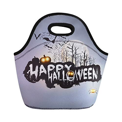 Semtomn Lunch Tote Bag Happy Halloween Flying Bats Over the Autumn Woods Reusable Neoprene Insulated Thermal Outdoor Picnic Lunchbox for Men -