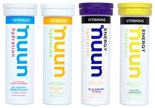 Mixed Flavors 4-Pack Caffeine Drink Tablets nuun Hydration: Electrolyte