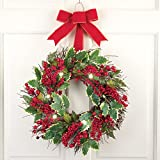 """Pre-Lit LED Red Berry Holiday 18"""" Wreath with Velvet Bow"""
