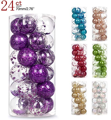 AMS 2.76/24ct Shatterproof Clear Plastic Christmas Ball Ornaments Decorative Xmas Balls Baubles Set with Stuffed Delicate Decoration (70mm Purple)