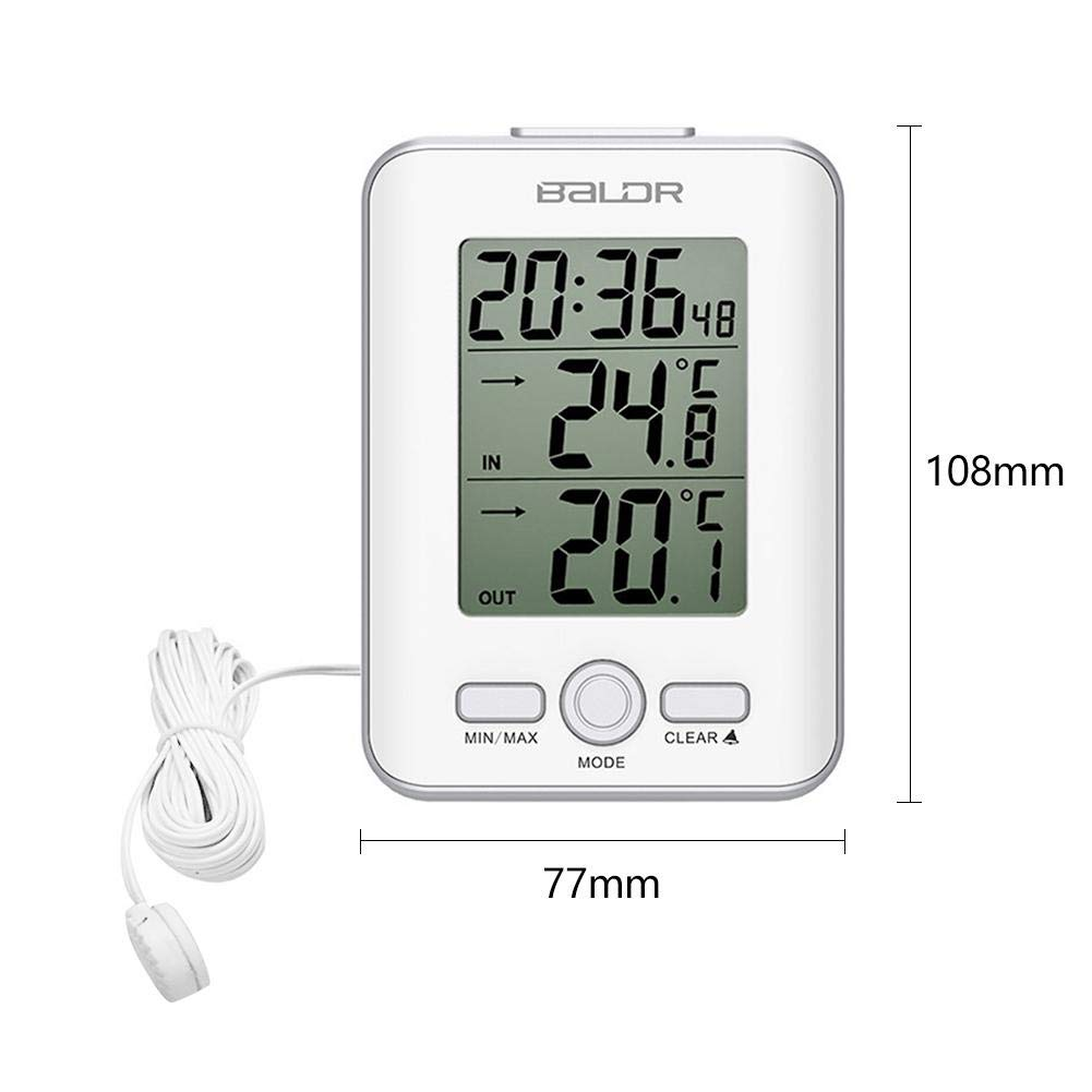White Jocestyle Wired Digital Thermometer Clock Indoor Outdoor Temperature Sensor Probe LCD Temperature Meter
