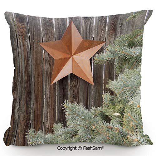 FashSam Polyester Throw Pillow Cushion Big Orange Star on Rough Wood Fences Pine Branches Print Decorative for Sofa Bedroom Car Decorate(18