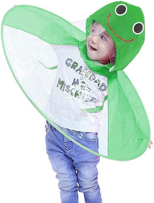 Cute Rain Coat UFO Children Umbrella Hat Magical Hands Free Raincoat