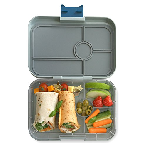 YUMBOX TAPAS Larger Size (Flat Iron Gray) Leakproof Bento lunch box with 4 compartment non-illustrated food tray for Adults, Teens & Pre-teens