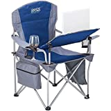 Creative Outdoor Lightweight and Portable Folding iChair with Wine Holder in Grey/Blue, Durable Folding Team Bench with Backpack Carry Bag, 24'' L x 36.5'' W x 33'' H
