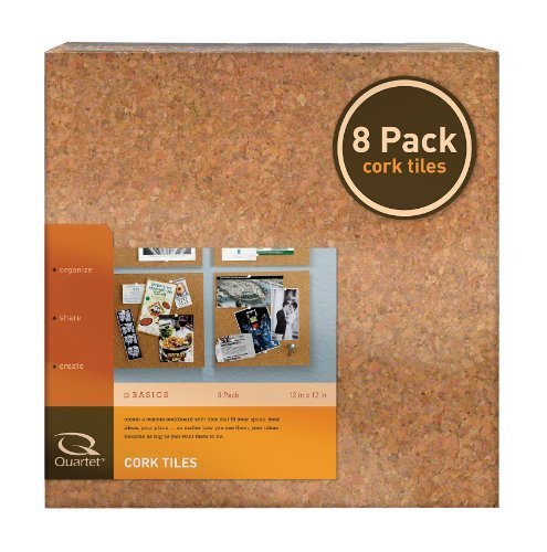 Quartet Cork Tiles, Natural, 12 Inch x 12 Inch, Frameless, 8 Pack (108) by Quartet