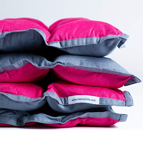 SensaCalm Adult Weighted Blanket - Pink Raspberry and Volcanic Gray 18 lb- for 150 lb User