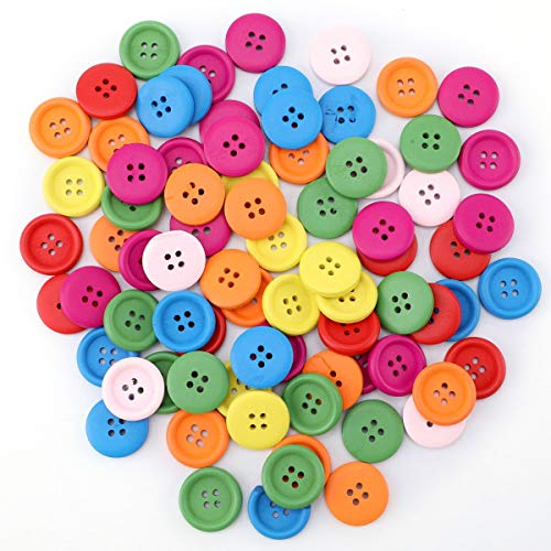 (100pcs Mixed Wooden Buttons in Bulk Buttons for Crafts Mixed Buttons Round Shape)
