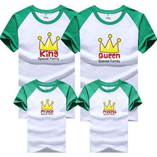 Fashion Family Matching Summer T-Shirt King Queen Prince Princess Short Sleeve Crown Print T-Shirt Family Look Clothing Tee 130 -