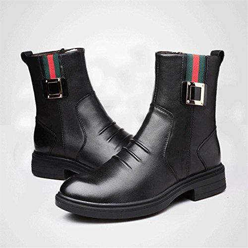 Inverno Da Stivali Imitazione Uomo Alta Scarpe Black Grandi 45 Pelle Pi¨´ Smerigliati SOSCfwqrx