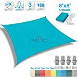 Patio Paradise 8' x 8' Solid Turquoise Green Sun Shade Sail Square Square Canopy - Permeable UV Block Fabric Durable Patio Outdoor - Customized Available