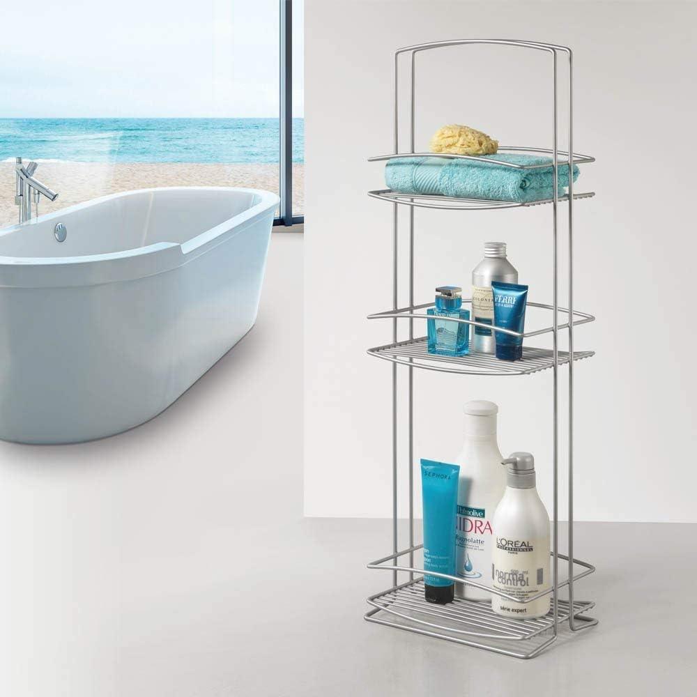 Metaltex Mueble baño 3 Pisos, Gris Metalizado: Amazon.es: Hogar