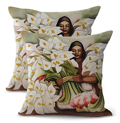 - WholesaleSarong Set of 2 Vendedora de Alcatraces -Diego Rivera Calla Lily Vendor Cushion Cover Home Decor and Accessories Mexico Painter Artist Artwork Latino