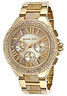 Michael Kors Women's Camille Chronograph Gold-Tone Stainless Steel and Horn Acetate