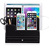 EasyAcc Double-deck Multi-device Charging Organization Station Dock Stand for iPhone 6 6s, iPad Mini 1 2 3, iPad 2 3 4, Samsung Galaxy S7 S7 edge Galaxy Tab 4 10.1 Macbook Air Ect. - Black Pu Leather