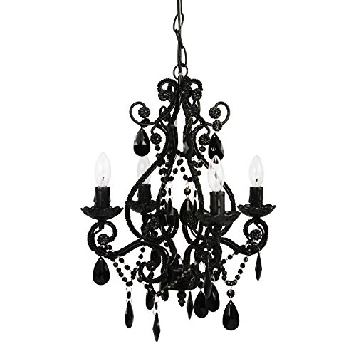 Tadpoles 4-Bulb Vintage Plug-In or Hardwired Mini-Chandelier, Onyx Black