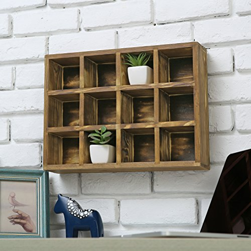 12 Compartment Torched Wood Freestanding or Wall Mounted Shadow Box, Display Shelf Shelving Unit by MyGift (Image #3)