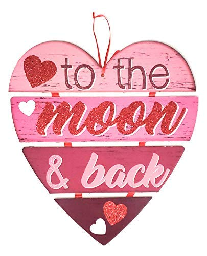 Decor Happy Valentine's Day  Wall Plaques Home Decoration Decorations Valentine Message Hanging Hearts Wall to The Moon & Back Sign