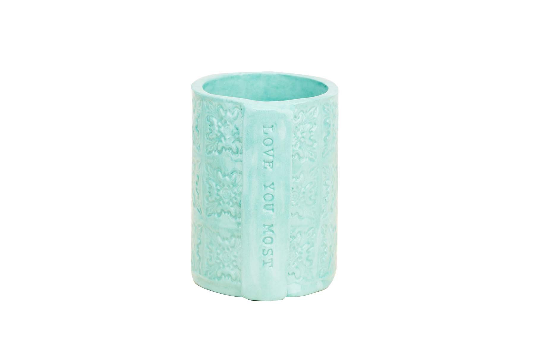 Glory Haus 2880102 Love You Most Teal Vase, Multicolor