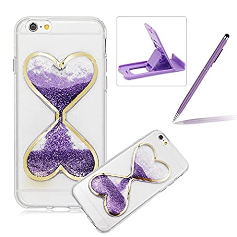 Liquid Case for iPhone SE,For iPhone 5 Purple Glitter Love Heart Case,Herzzer Luxury Funny Creative 3D Sandglass Liquid Quicksand Glitter Sand Moving Crystal Soft Gel Protective Back Cover - Glistening Heart