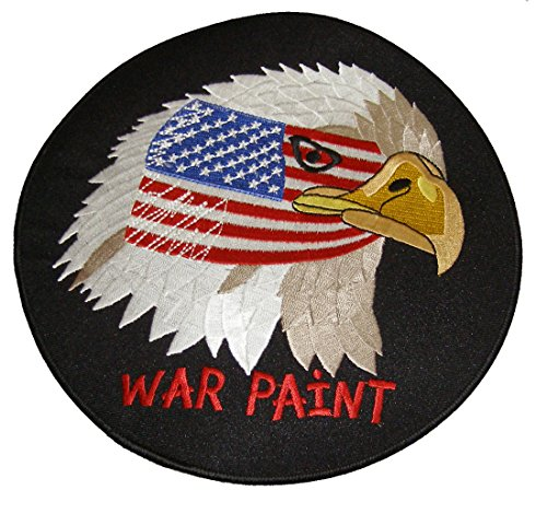 American Eagle w/USA Flag, WAR PAINT, ROUND Patch - Sm 3 1/2
