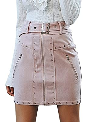 Missy Chilli Women's High Waist Suede Mini Skirt Zipper Belt Bodycon Skirt