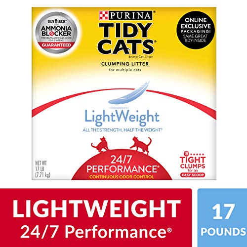 Purina Tidy Cats Light Weight, Low Dust, Clumping Cat Litter, LightWeight 24/7 Performance Multi Cat Litter - 17 lb. Box (Best Litter Scoop Ever)