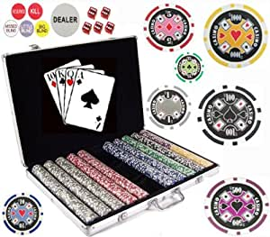 Bluff King One of a Kind 1000 Pcs 11.5 Gram Clay Composite Chips with Gaming Accessories.