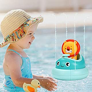 BAZOVE Baby Bath Toys, Water Spray Toys, Spinning Boat with Toy Lion- Bathtub Toys for Toddlers & Kids, Fun & Interactive Bath Toys for Bathtub or Pool, Sprinkler Bath Toys for 1 2 3 Years Old Boys