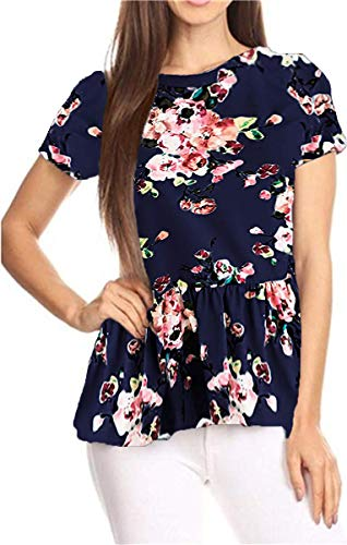 GOCHIC Womens Ruffle Hem Peplum Tunic Blouse Floral Print Short Sleeve T Shirt Tops #2Navy Blue S