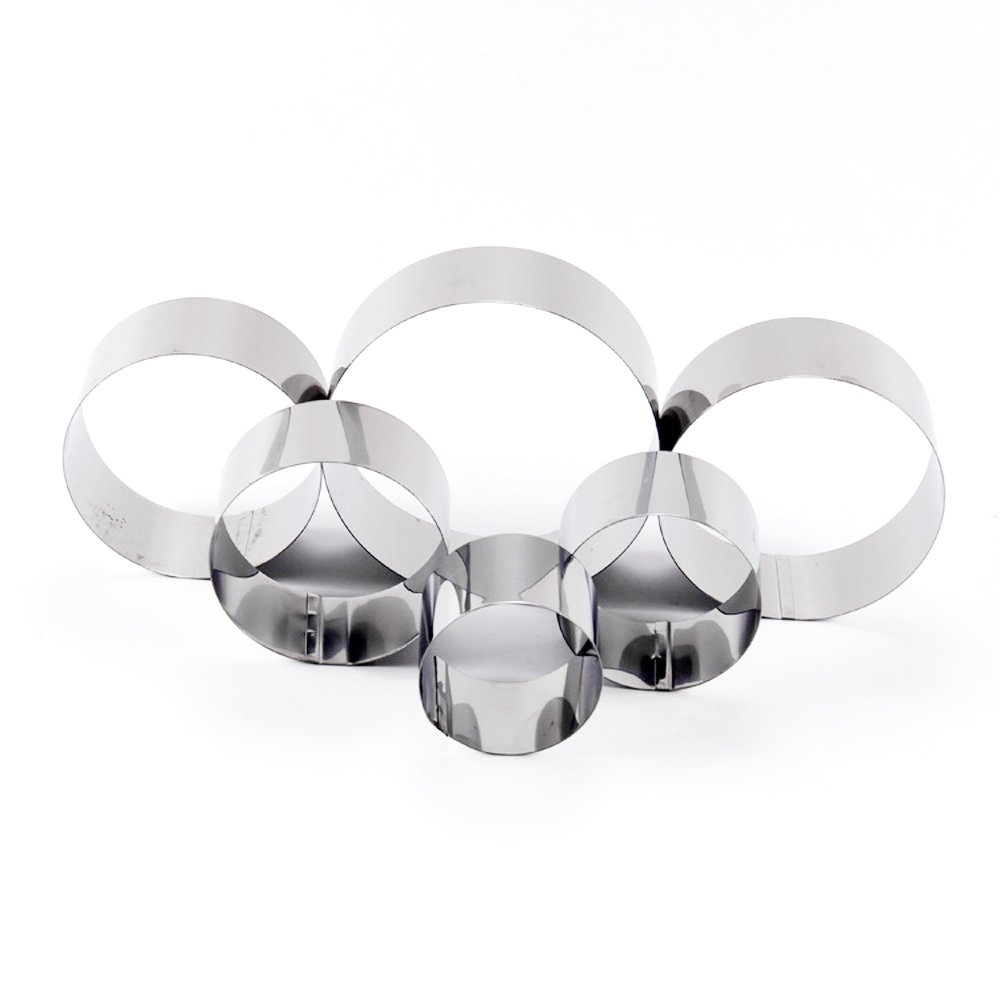 Happy Hours® 6pcs Stainless Steel Round Circle Cookie Fondant Cake Decor Paste Mold Mousse Ring Cutter Tool, 6CM/ 7CM/ 8CM/ 9CM/ 10CM/ 12CM