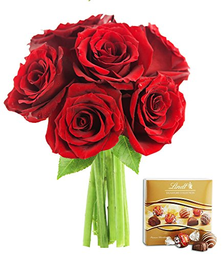 KaBloom Romantic Red Rose Bouquet: 6 Fresh Cut Red Roses (Long Stemmed) without Vase and One Box of Lindt Chocolates