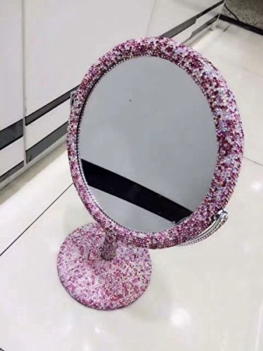 TISHAA Luxury Elegance Cute Style Bling Bling Small White Crystal Diamond Studded Double Make Up Magnification Stand Mirror (Pink Stand (Tilt White Earrings)