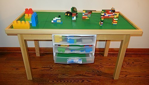 LEGO COMPATIBLE NATURAL PLAY TABLE WITH 3 STORAGE DRAWERS SOLID POPLAR WOOD LEGS & FRAME - REMOVABLE BASE PLATE LEGO TILES 29 INCH TALL LEGS