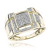 Luxurman 10K Pave Set Mens Natural 0.5 Ctw Diamond Ring (Yellow Gold Size 10.5)
