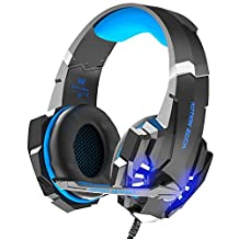 Gaming Headset for PS4,Xbox One Controller, VersionTech Stereo Over Ear Noise Isolating Headphones with Mic, LED Light, Bass Surround Soft Memory Earmuffs for Laptop Mac Nintendo Switch Games(Blue&Red)