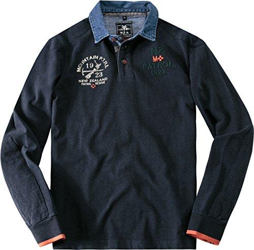 N.Z.A. Herren Polo-Shirt Baumwolle T-Shirt Unifarben mit Motiv, Größe: S, Farbe: Blau