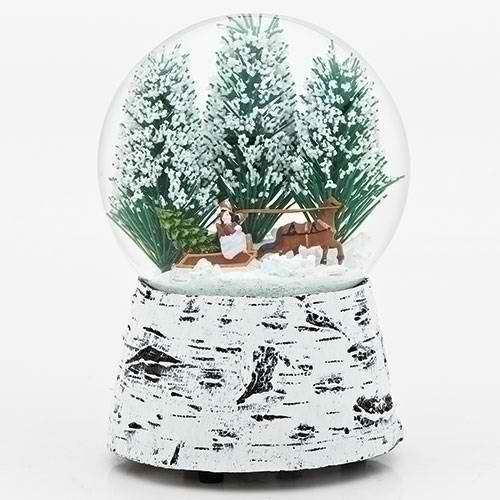 Horse Sleigh Snow 5.5 Inch Resin Musical Glitterdome Water Globe Plays Over the River Roman 130010