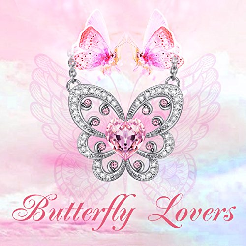 """Valentines Day Gifts LadyColour """"Butterfly Lovers"""" Pink Butterfly Pendant Necklace Made with Swarovski Crystals, Heart Design Animal Jewelry, Birthday Gifts Anniversary Gifts for Women Girls"""