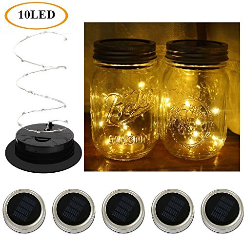 Decorative Copper Toppers Finials (Hongwei 5 Pack Solar LED Mason Jar Lights for Glass Mason Jars and Garden Decor(not include the jars))