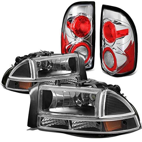 Headlights Amber Corner Lights (Dodge Dakota 4pcs Pair of Black Housing Amber Corner Headlights + Chrome Altezza Style Tail Light)