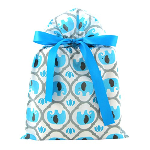 Elephants Reusable Fabric Gift Bag for Baby Shower, Child's Birthday, or Any Occasion (Standard 10 Inches Wide by 15 Inches High, Turquoise Blue) -