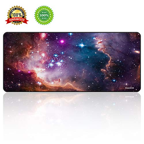 - BUANIIH Galaxy Gaming Mouse Pad XL, Extended Large Mouse Mat Desk Pad, Stitched Edges Mousepad, Long Non-Slip Rubber Base Mice Pads (27.6