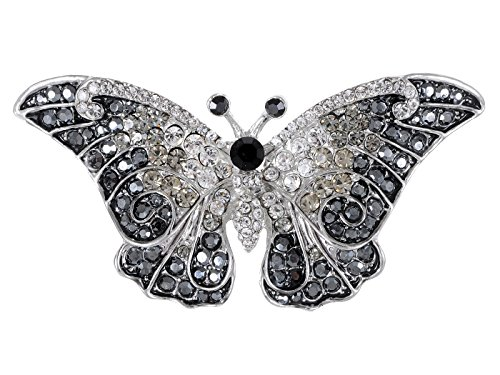 Empress Monarch Winged Butterfly Swarovski Crystal Rhinestones Brooch Pin - Jet ()