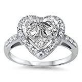 Clear CZ Heart Shine Promise Cute Ring New .925 Sterling Silver Band Size 11