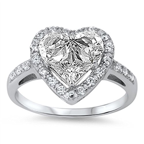 Clear CZ Heart Shine Promise Cute Ring New .925 Sterling Silver Band Size 11 by Sac Silver (Image #2)