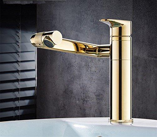 MEIBATH Waschtischarmatur Badezimmer Waschbecken Wasserhahn Küchenarmaturen Messing 1 Bohrung Heißes und Kaltes Wasser schwenken Gold Küchen Wasserhahn Badarmatur