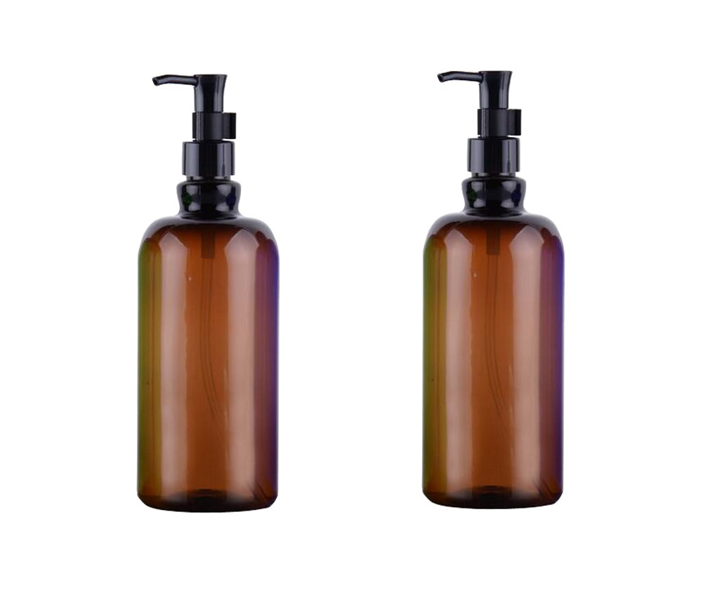 2PCS 500ML Plastic Pump Flask Bottles With Locking System-Cosmetic Bath Shower Shampoo Hair-Conditioner Liquid Storage Containers(Blue) Elandy