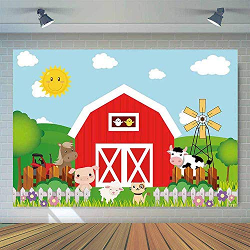 Allenjoy 7x5ft Cartoon Farm Animals Photography Backdrop Red Barn Barnyard Baby Children Birthday Party Decoration Banner Little Farmer Photo Background ()